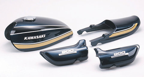 Kawasaki 1975 Z1 900 Painted Body Set Blue, Black & Gold - Atlanta Motorcycle Works - Vintage Replacement Parts