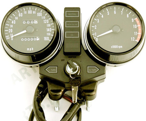 Kawasaki KZ1000 MKII 1979-1980 Speedometer & Tachometer Assembly Mph - Atlanta Motorcycle Works - Vintage Part Replacement