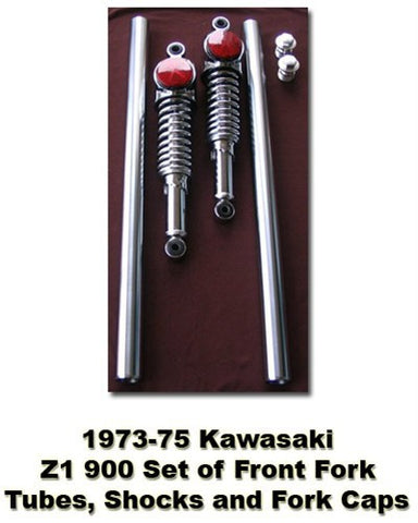 Kawasaki Z1 900 Fork Tube, Shocks, & Bolt Set 1973-1975 - Atlanta Motorcycle Works - Vintage Replacement Parts