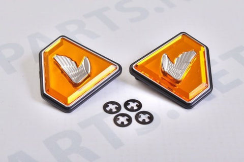 Honda CB750 1972-1976 Side Cover Emblems - Orange Diamond - Atlanta Motorcycle Works - Vintage Replacement Parts