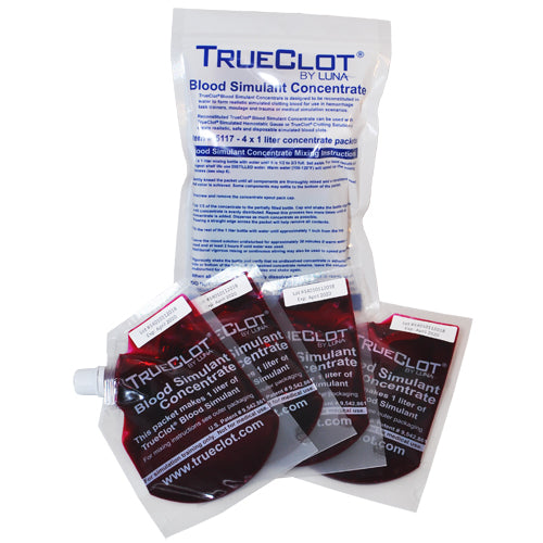TrueClot® Blood Simulant Concentrate 1 Liter Refills - 4 pack (item # 5117)