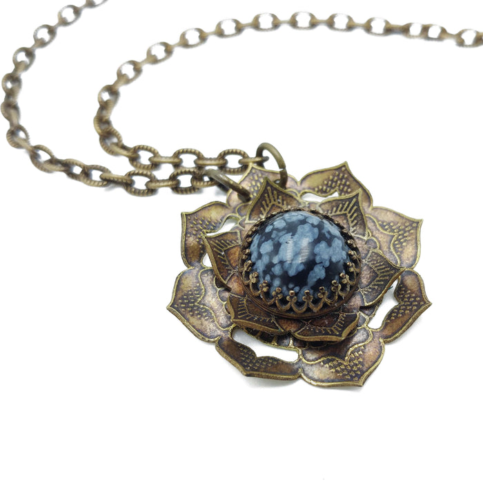 etched flower mandala necklace with snowflake obsidian