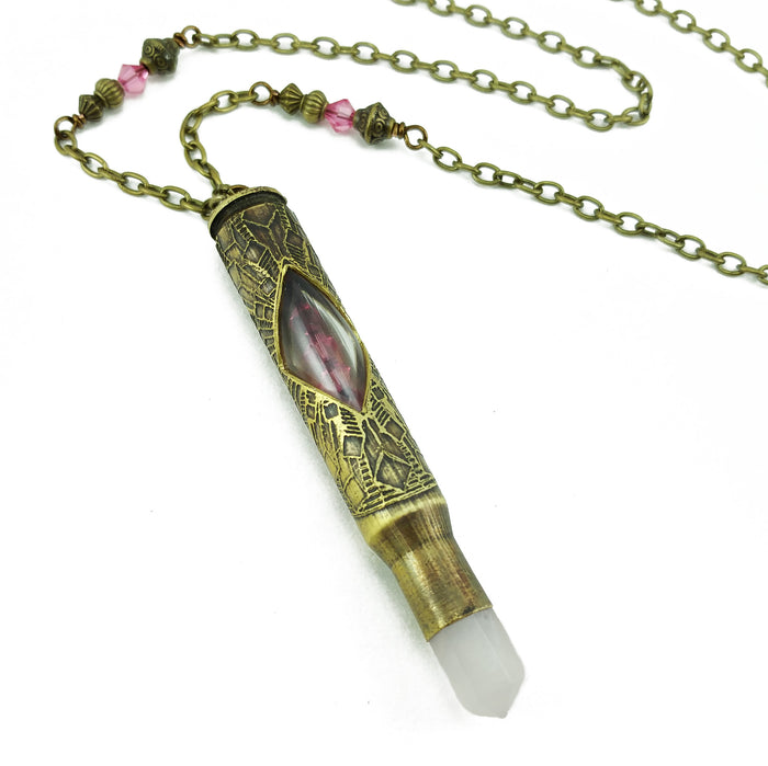 one of a kind etched bullet necklace with rose quartz