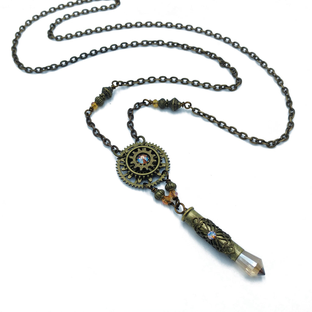industrial gear necklace with recycled bullet casing