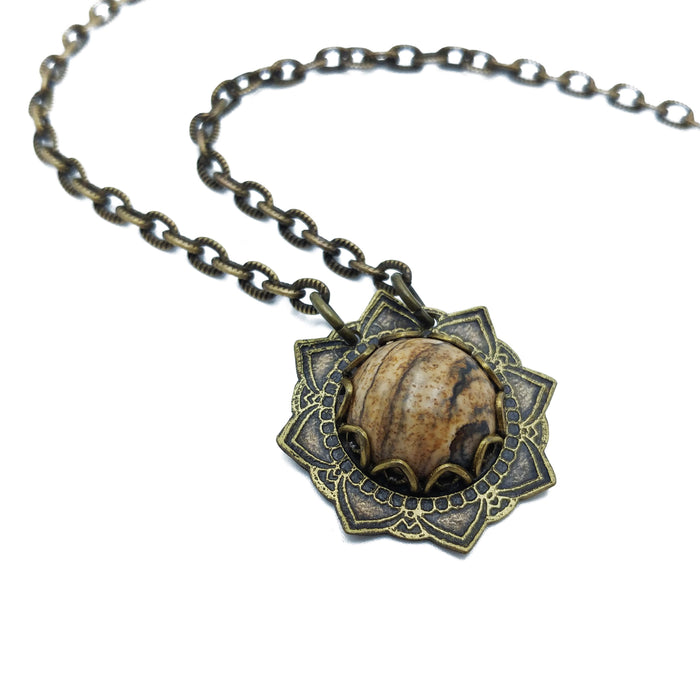 etched flower mandala necklace with picture jasper