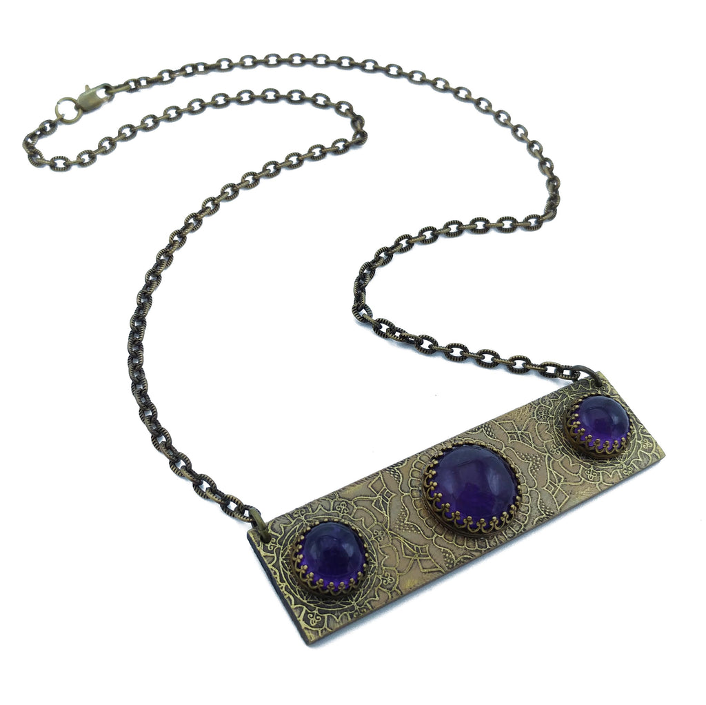 etched flower mandala bar necklace with amethyst