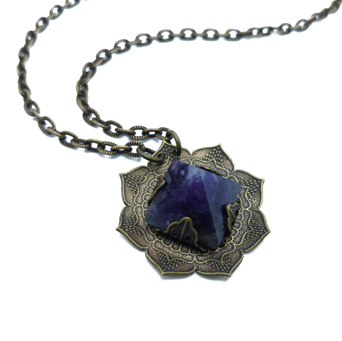 etched flower mandala necklace with amethyst pyramid