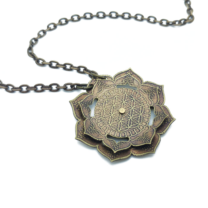spinning flower mandala necklace