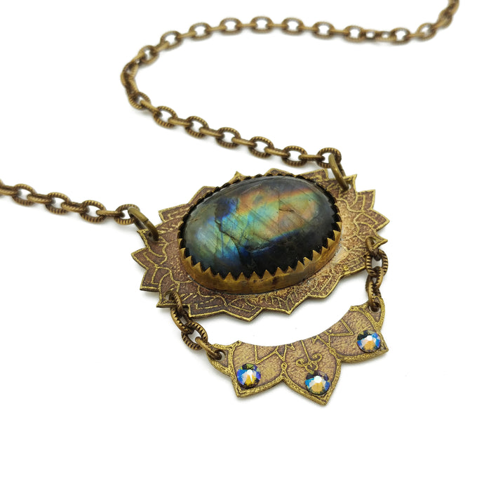 victorian flower mandala necklace with labradorite
