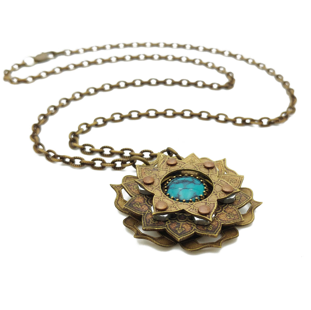 etched flower mandala necklace with turquoise