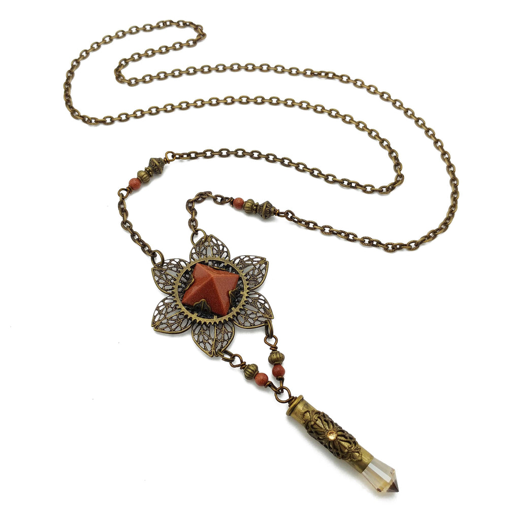 blooming flower necklace with goldstone pyramid