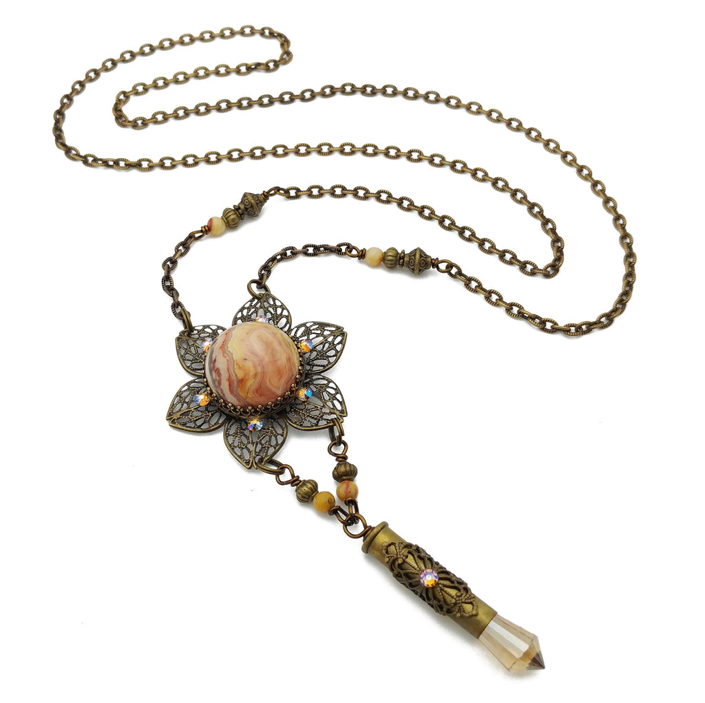 blooming flower mandala necklace with crazy lace agate