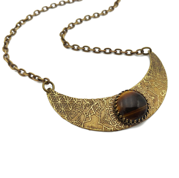 flower mandala crescent necklace with tiger eye