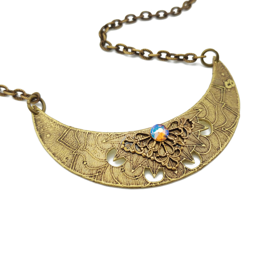 flower mandala crescent necklace