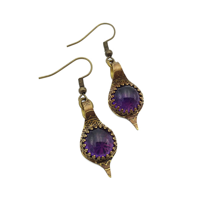 Hand-Etched Brass Earrings with Amethyst