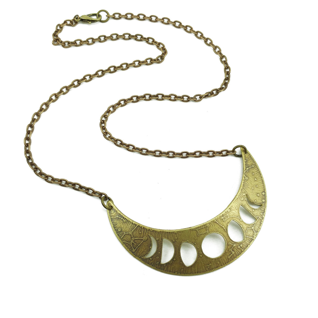 lunar phases crescent necklace