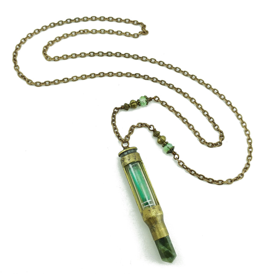 one of a kind bullet necklace with nephrite jade