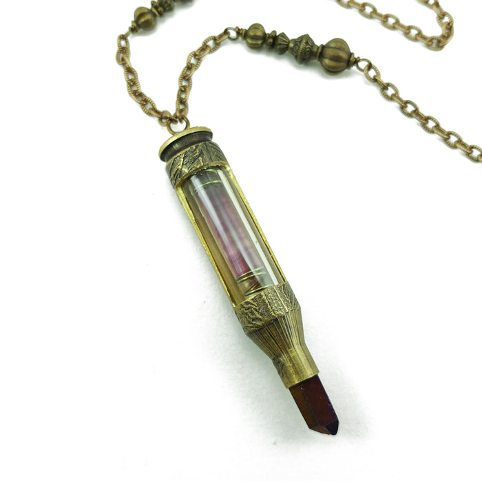 one of a kind bullet necklace with fluorite