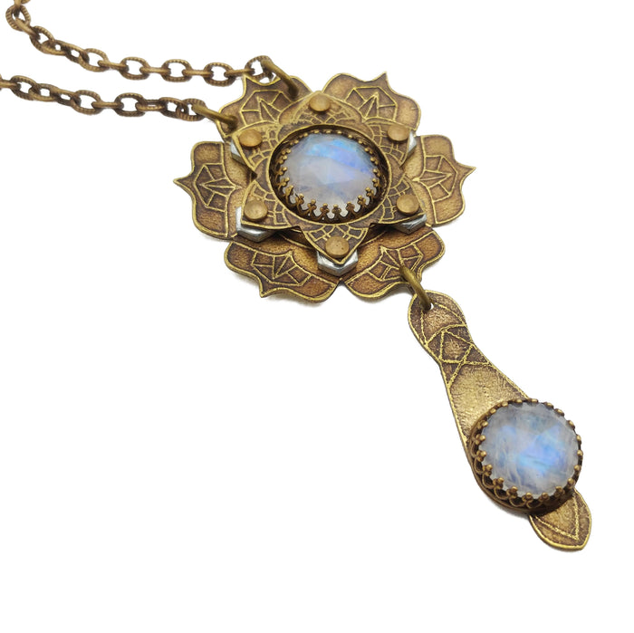 etched flower mandala necklace with rainbow moonstone