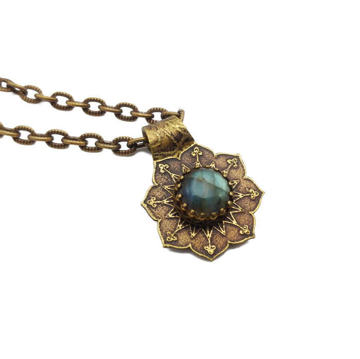 etched flower mandala necklace with labradorite