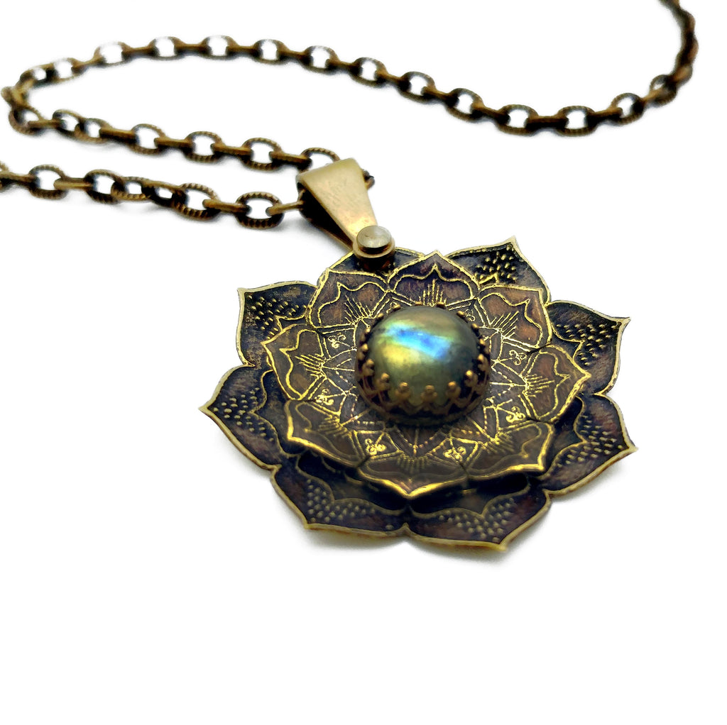 etched flower mandala with labradorite