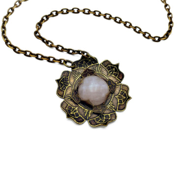 etched flower mandala necklace with rose quartz