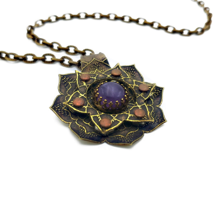 etched flower mandala necklace with amethyst