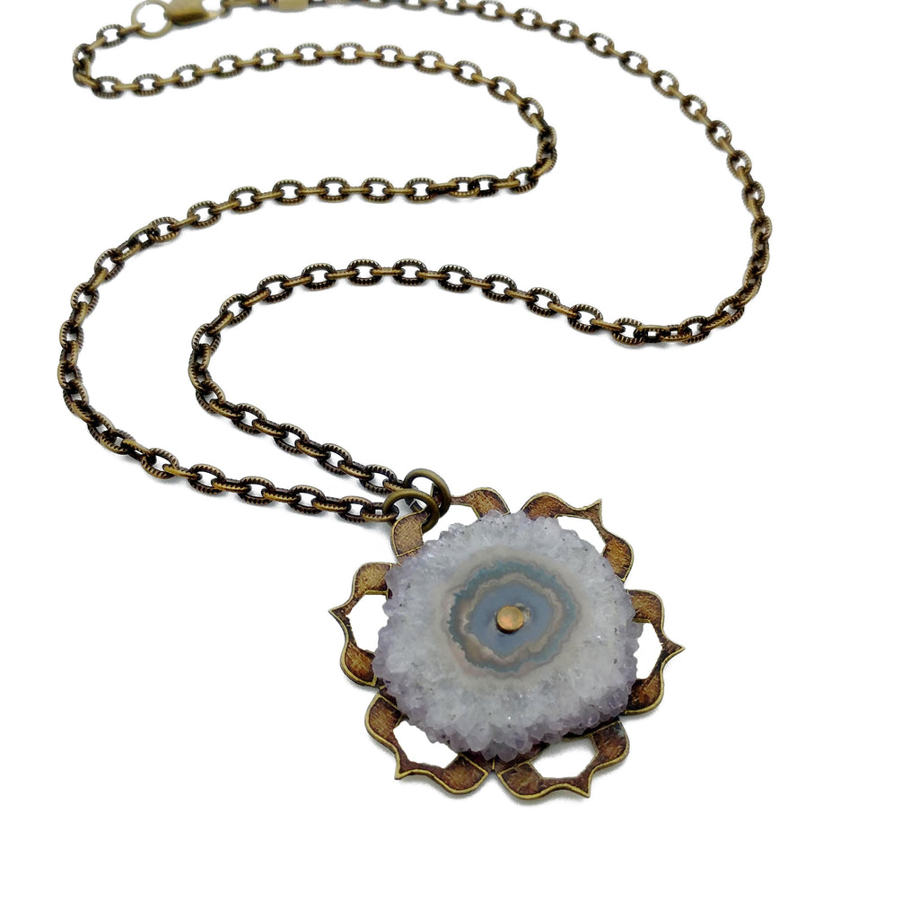 etched flower mandala necklace with amethyst stalactite