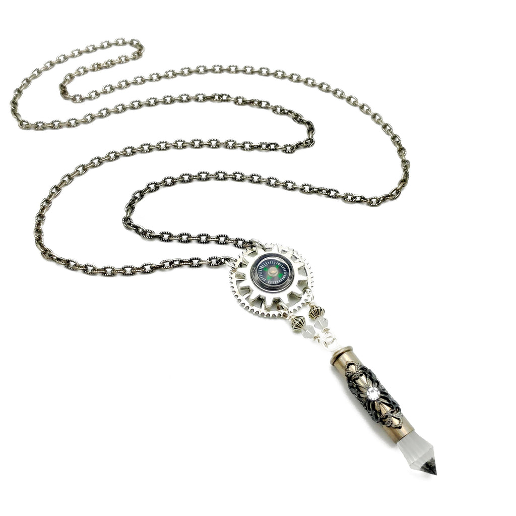 functional compass necklace with recycled bullet casing