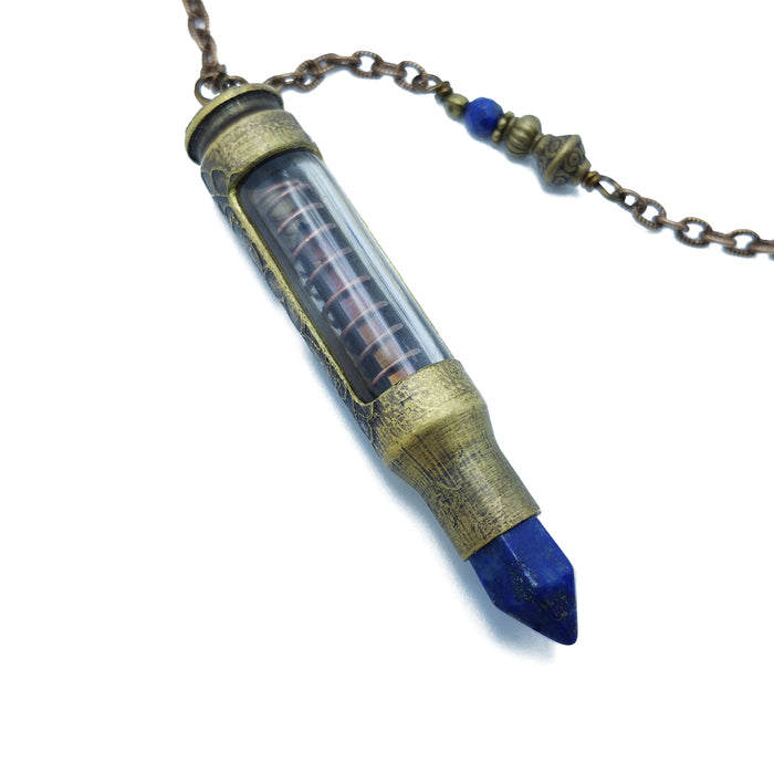 one of a kind bullet necklace with lapis lazuli