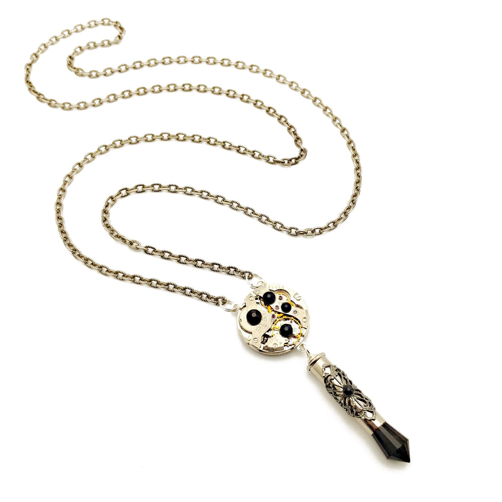 recycled watch movement necklace
