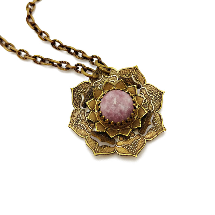 etched flower mandala necklace with lilac lepidolite
