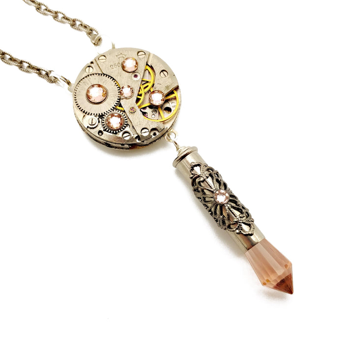 elegant recycled watch movement necklace