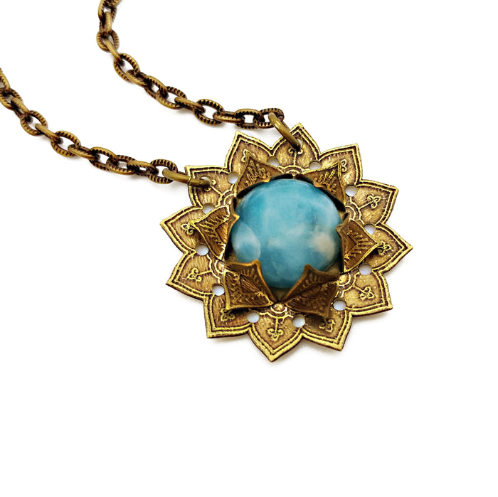 etched flower mandala necklace with larimar