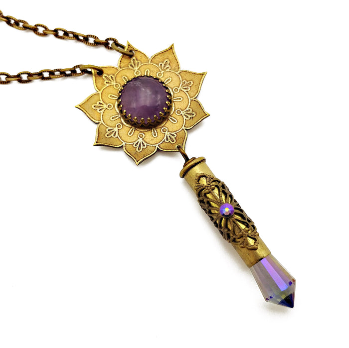 blooming flower mandala necklace with amethyst