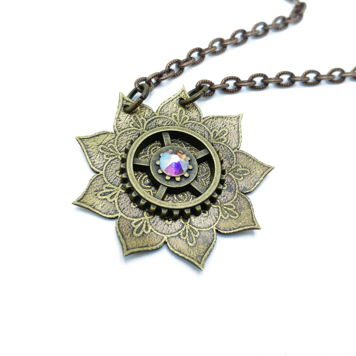 etched flower mandala necklace