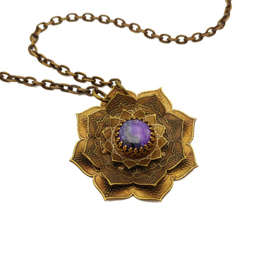 etched flower mandala necklace with sugilite