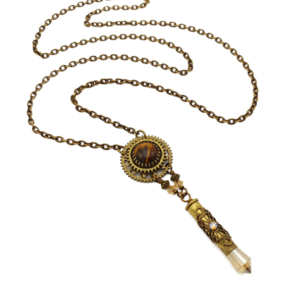 industrial gear necklace with tiger eye