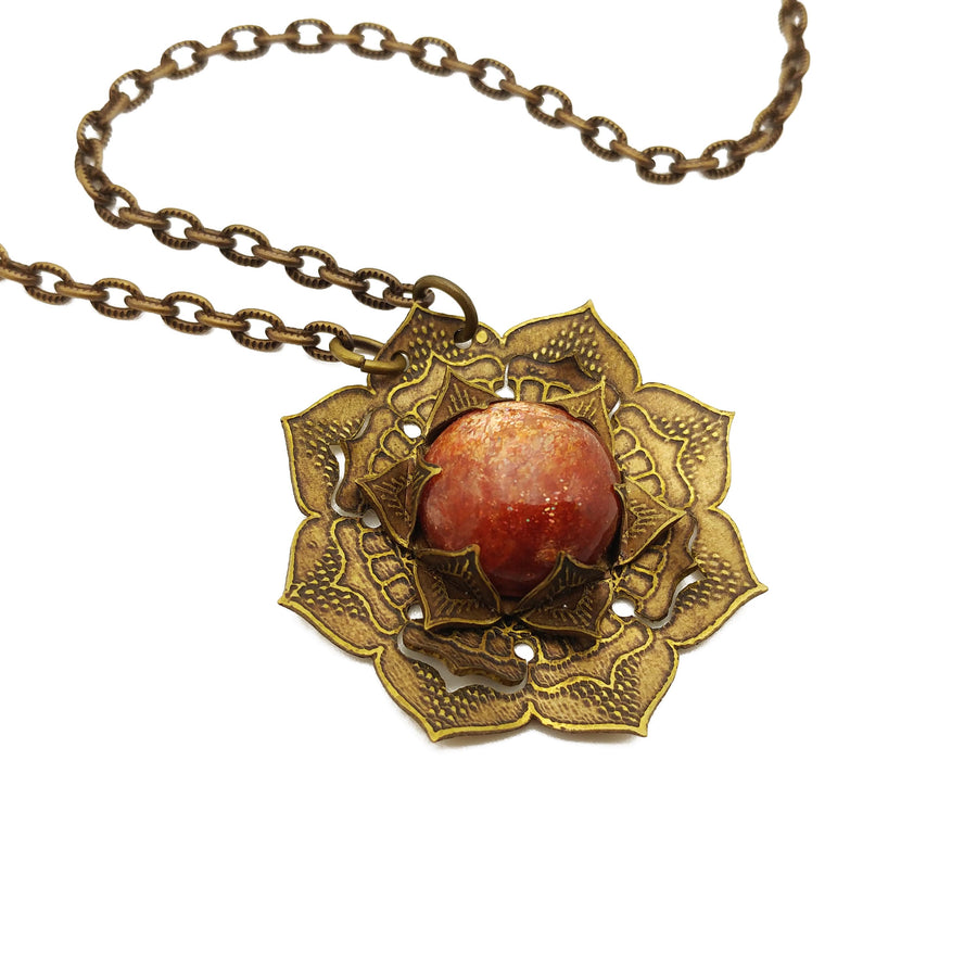 etched flower mandala necklace with sunstone