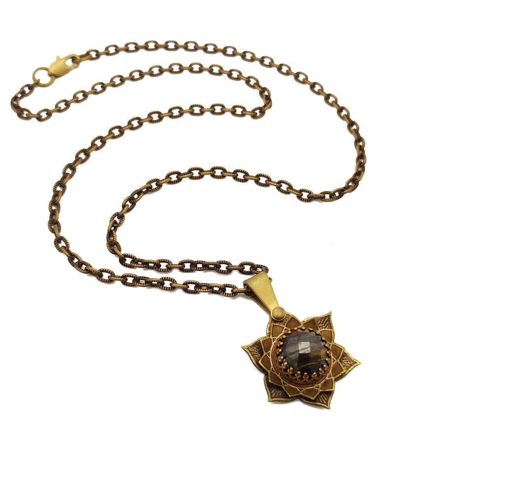 etched flower mandala necklace with tiger iron