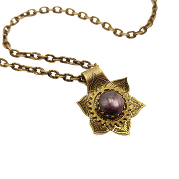 etched flower mandala necklace with star ruby