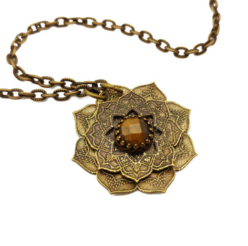etched flower mandala necklace with tiger eye