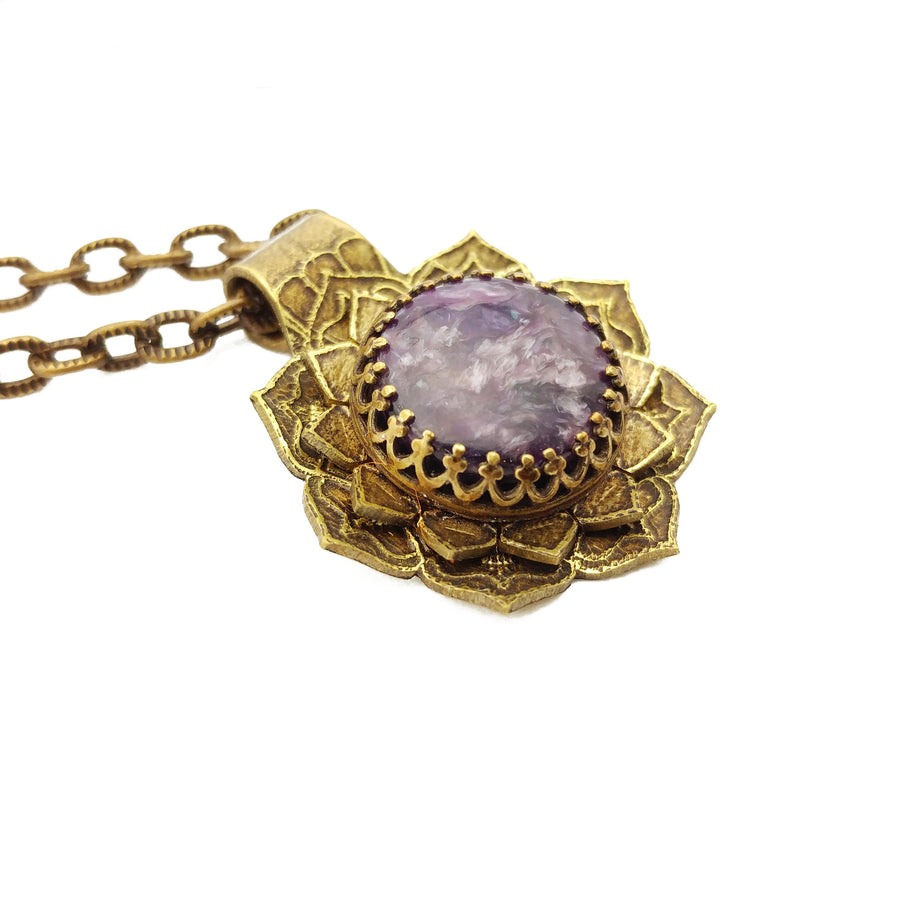 etched flower mandala necklace with charoite