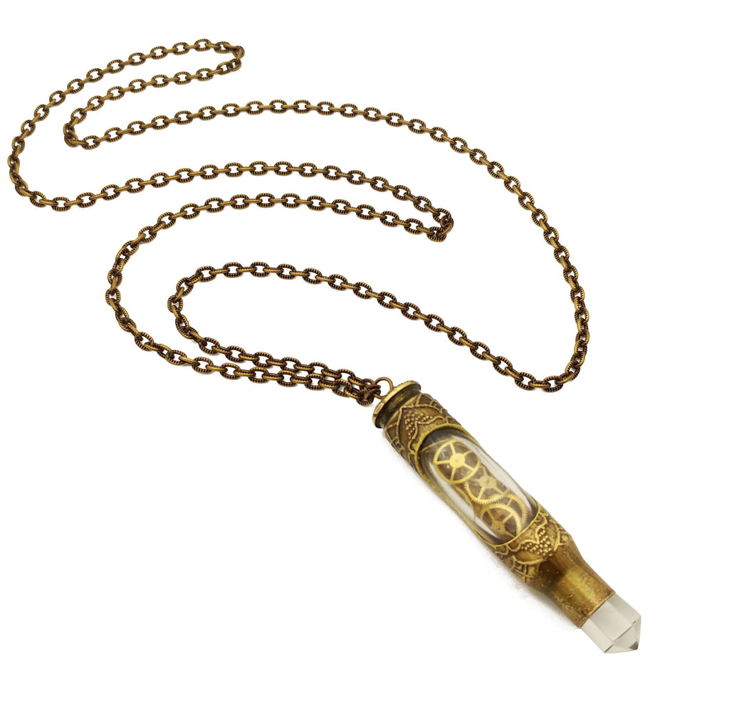 one of a kind etched bullet necklace with recycled watch gears