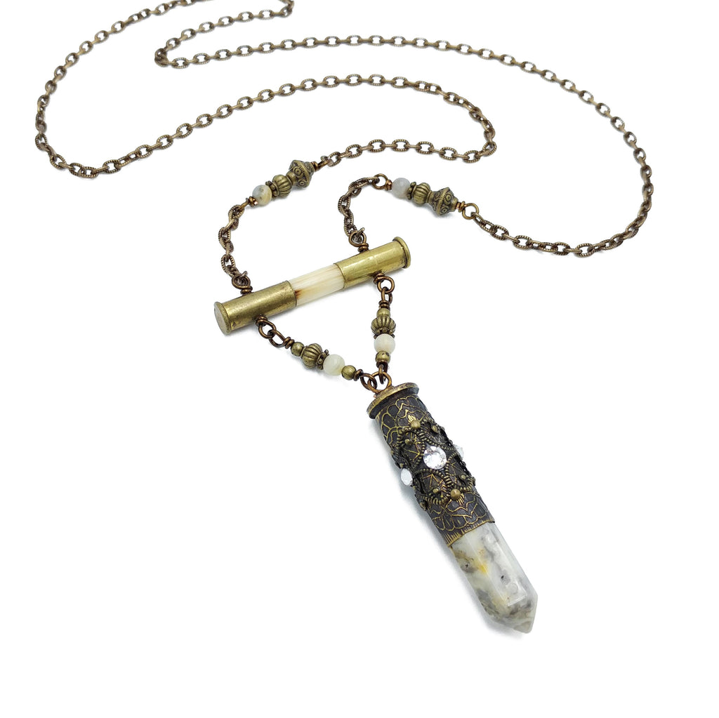 etched bullet necklace with porcupine quill and crazy lace agate