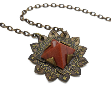 etched flower mandala necklace with goldstone pyramid