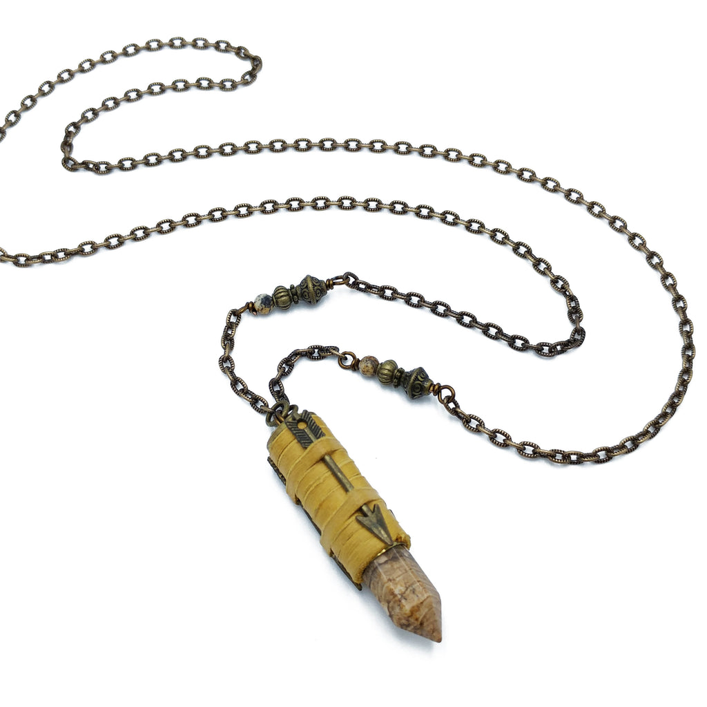 recycled bullet casing with picture jasper and deerskin leather