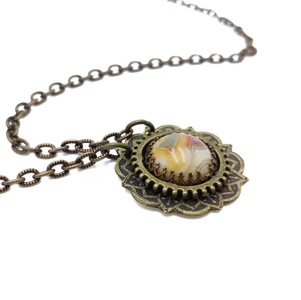 etched flower mandala necklace with crazy lace agate
