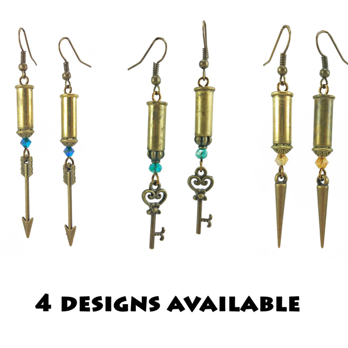Recycled .22 Bullet Brass Earrings