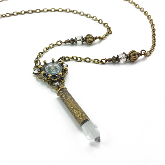 bohemian compass necklace with recycled bullet casing